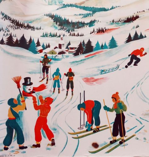 Vintage French School Print - Helen Poirie - Skiing