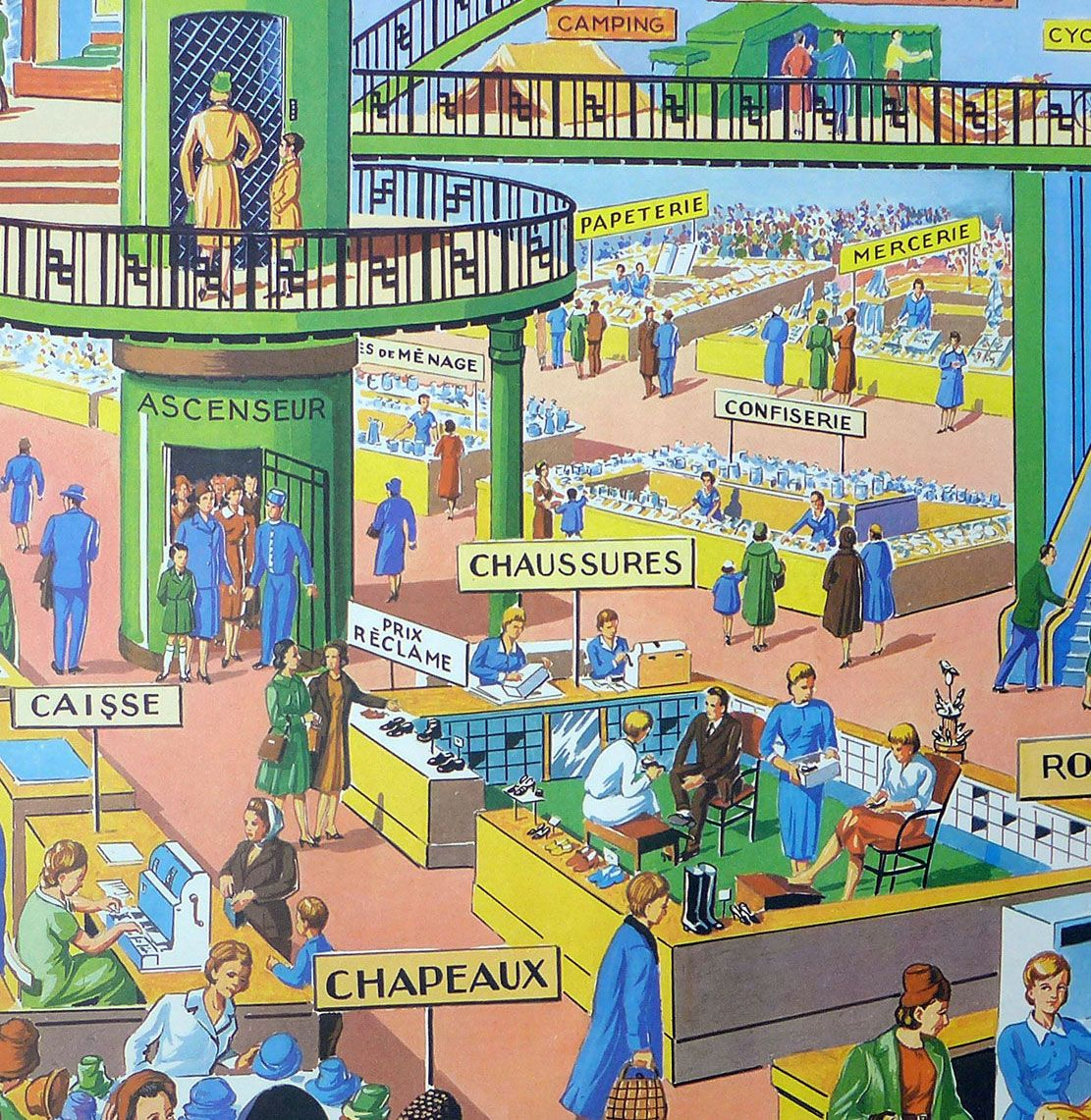 1960's French Classroom Poster - Department Store/Town Centre