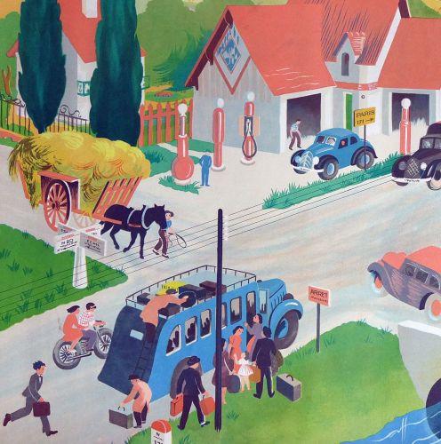 Vintage French School Print - Helen Poirie - The Crossroads