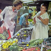 1960's French School Poster - Mother at the Market/Building a House