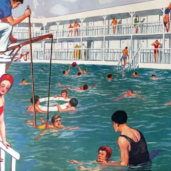 French Classroom Poster - At the Hairdresser/Swimming Pool