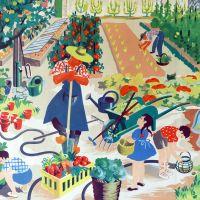 Vintage French School Print - Helen Poirie - The Garden