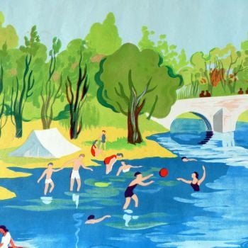Vintage French School Print - Helen Poirie - The River