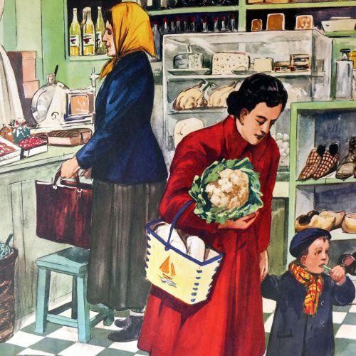 Vintage French Classroom Poster - L'Épicier/La Boulangerie