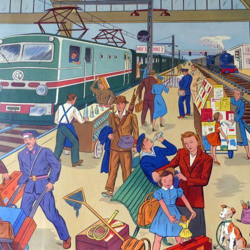 Vintage French Classroom Poster - A La Gare/Chez Le Mecanicien