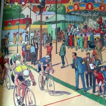 Vintage French Classroom Poster - La Course de Velo/Le Depart