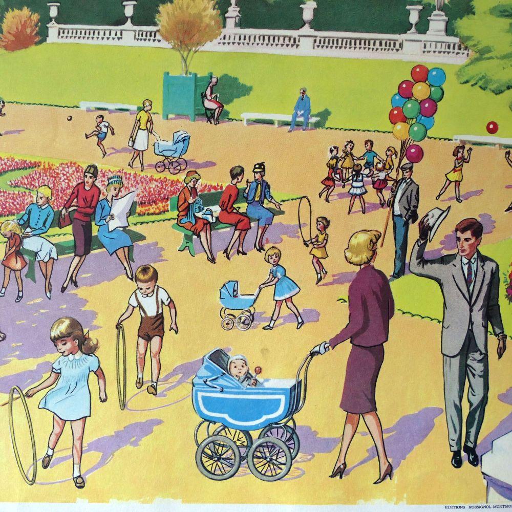 Vintage French Classroom Poster - Le Jardin Public/L'Usine