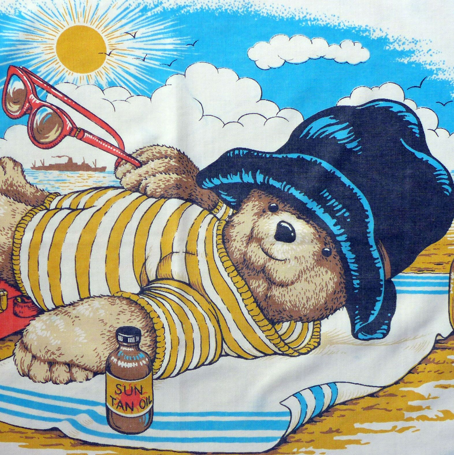 Vintage childrens fabrics noddy tintin rupert and many more for Unique childrens fabric