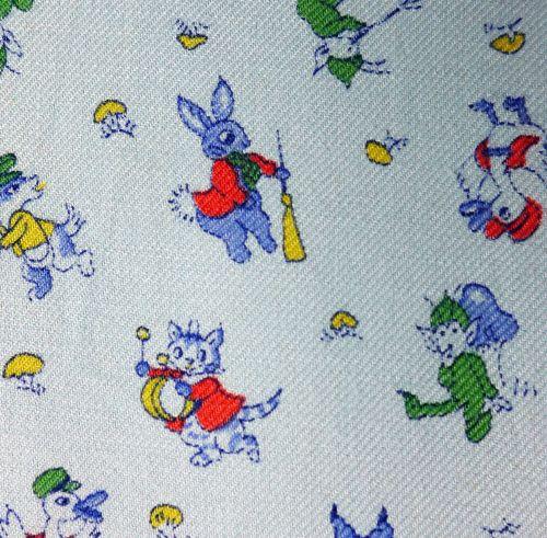 Vintage 1950 39 s fabric nursery rhyme for Nursery fabric uk