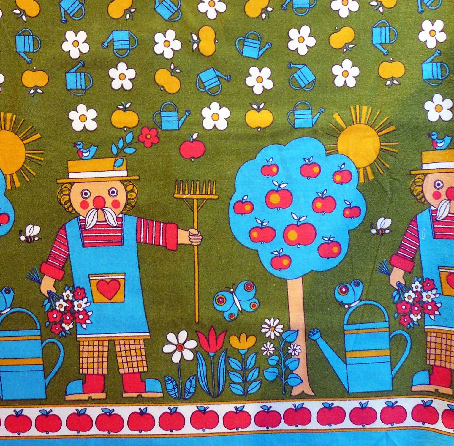 1970's Children's Fabric - Gardener and Tree