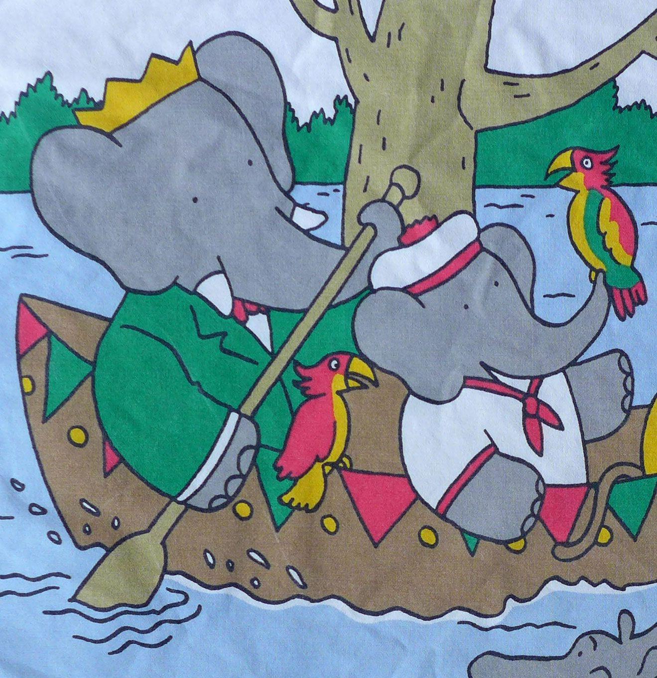 Babar Fabric Panels - Canoe & Hippos