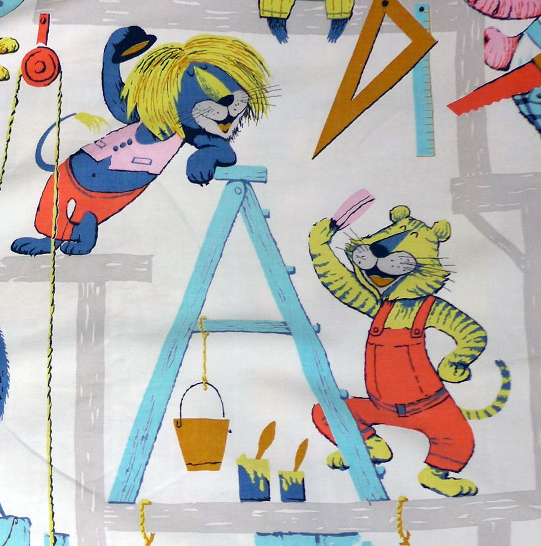 1960's Children's Animal Fabric