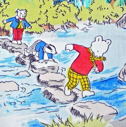 Rupert Bear Vintage Cotton Panel -  stepping stones