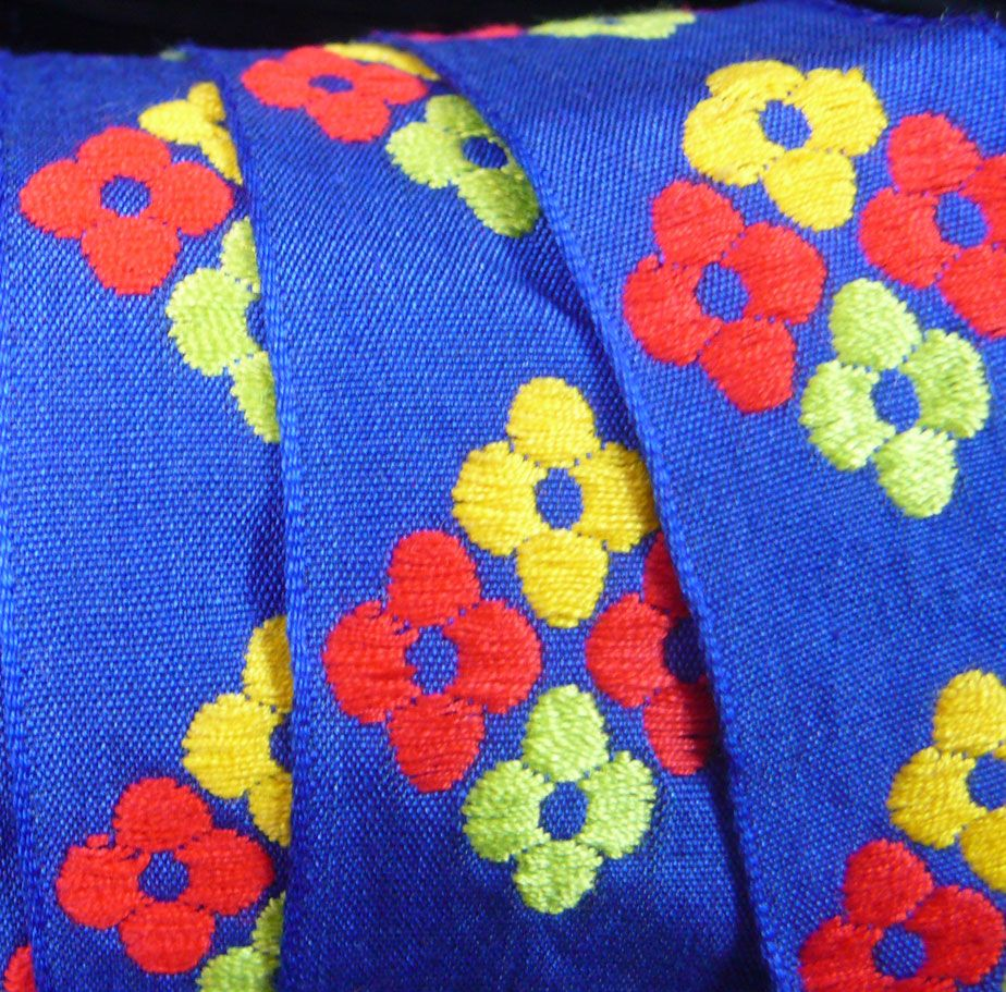 1960's  Woven Cotton Trim - Blue Floral