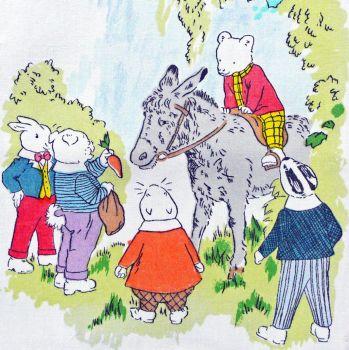 Rupert Bear Vintage Cotton Panel - Donkey