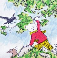 Rupert Bear Vintage Cotton Panel - Raven