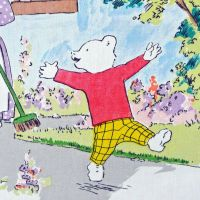 Rupert Bear Vintage Cotton Panel - Garden