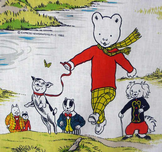Vintage Rupert the Bear Fabric - 110cm x 80cm