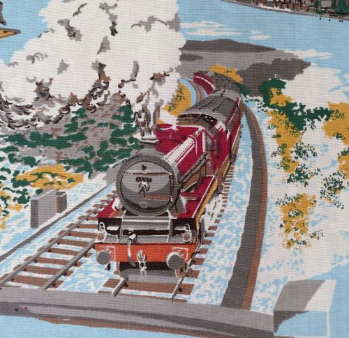 Steam Train Vintage Fabric - 170cm wide