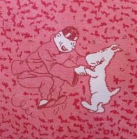 Vintage Tintin Fabric - The Blue Lotus - 50cm x 50cm