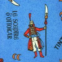 Vintage Tintin Cotton fabric - King Ottokar's Sceptre - 125cm x 85cm