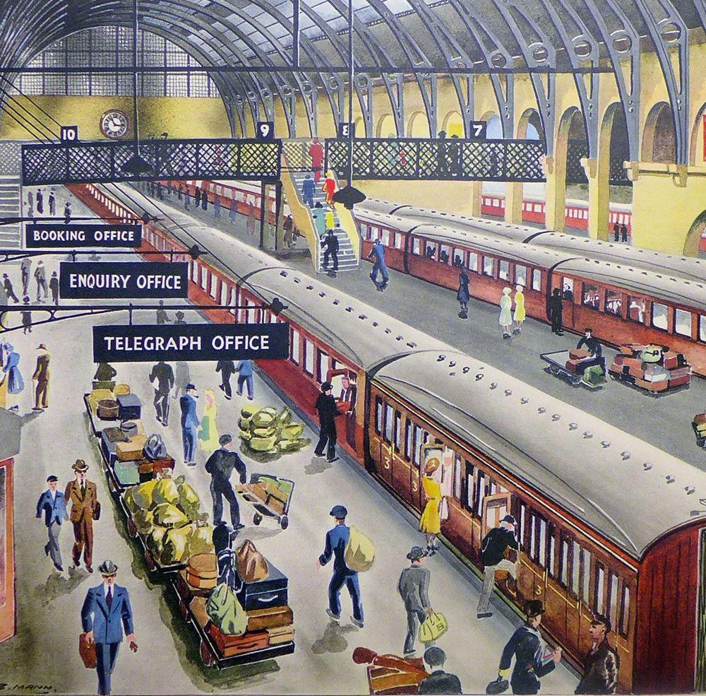 Vintage Classroom Poster - A Railway Terminus