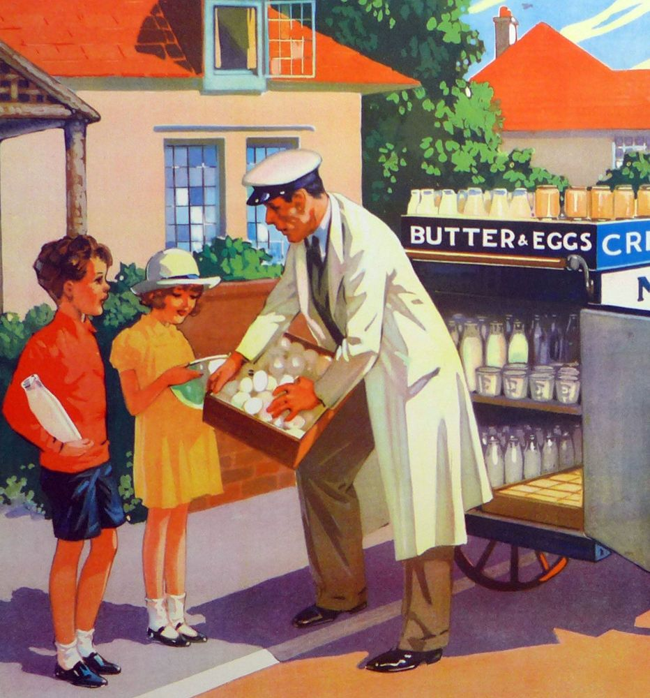 Vintage School Poster 1938 - The Milkman