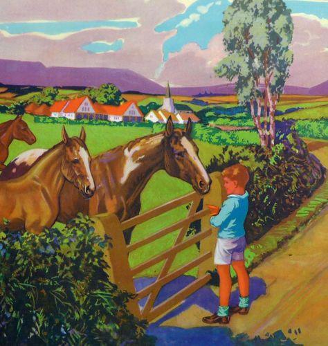 Vintage School Poster 1938 - Horses