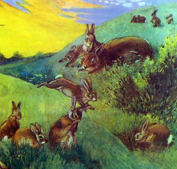 Vintage School Poster 1938 - Rabbits