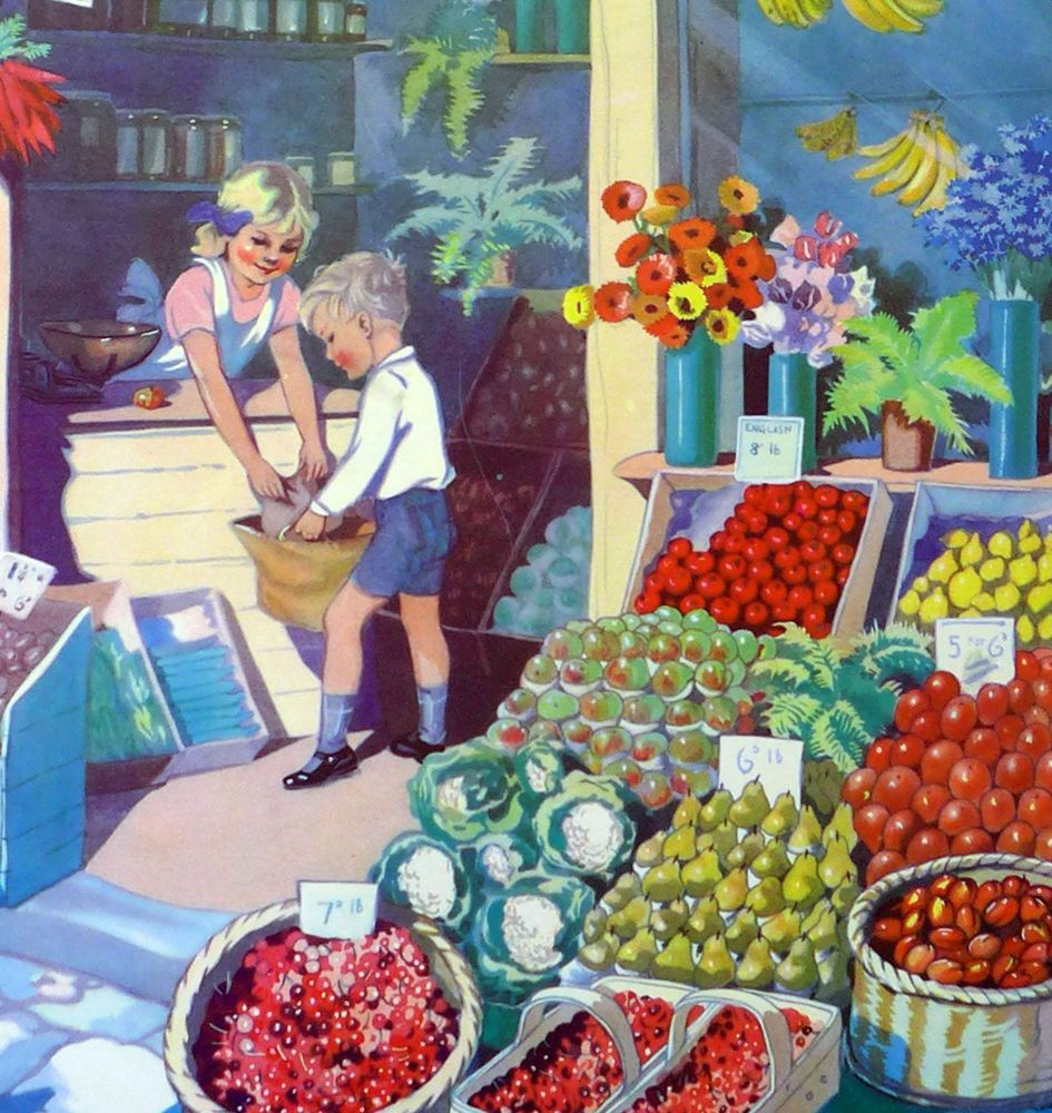 Vintage School Poster 1938 - The Greengrocers