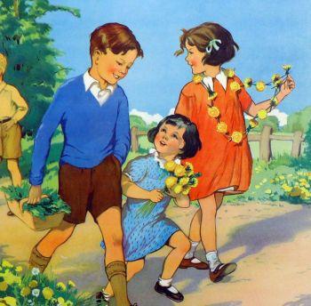 Vintage School Poster 1938 - Dandelions