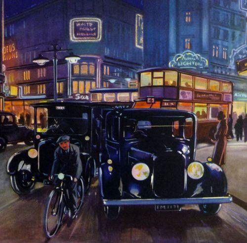 Vintage School Poster 1938 - Lights at Night Time