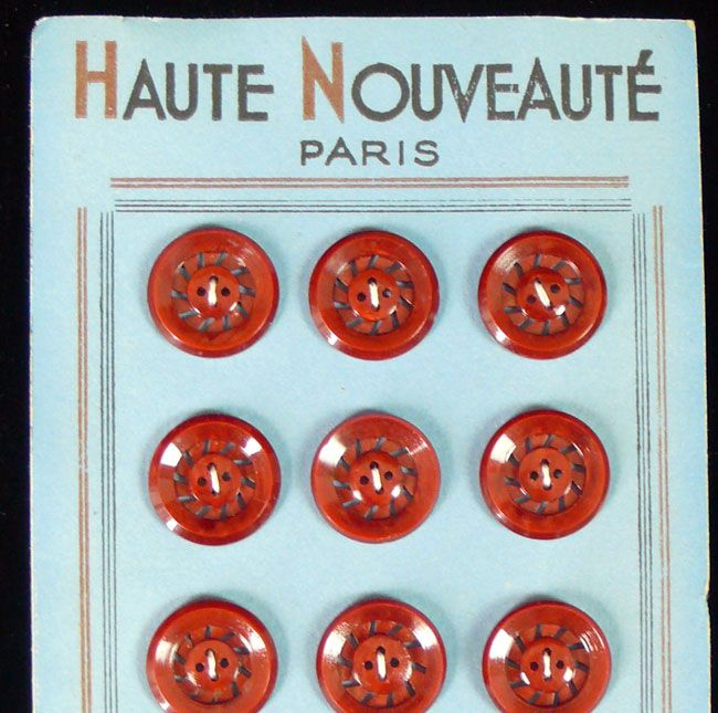 12 Vintage French  Buttons - Burnt Orange