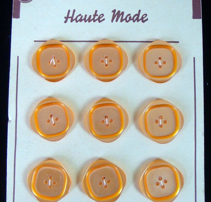 12 Vintage French  Buttons - Pale Orange