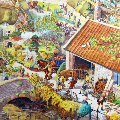 Vintage School Poster - Autumn in the Village