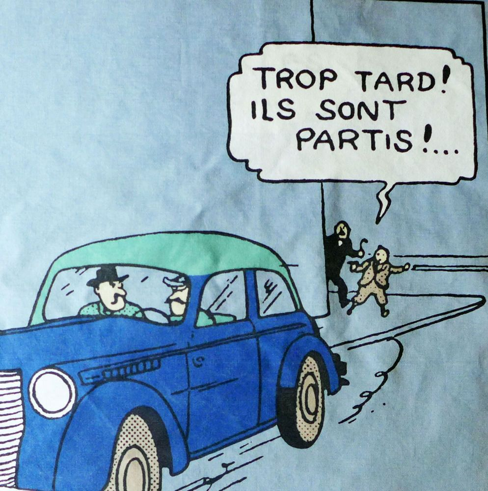 Tintin Fabric Panel - Too Late... - Taupe or Blue - 40cm x 44cm