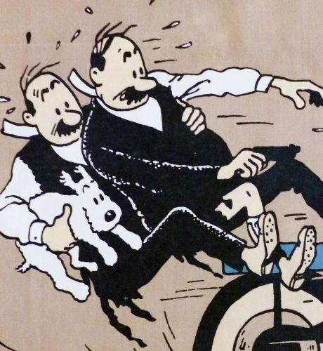 Tintin Fabric Panel - King Ottokar's Sceptre - Thompsons Fall Off!