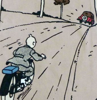 Tintin Fabric Panel - King Ottokar's Sceptre - Tintin Chases the Car