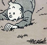 Tintin Fabric Panel -  Tintin Falls - 23cm x 41cm - Blue or Taupe