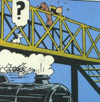 Tintin Cotton Panel - The Black Isle - Tintin on the Bridge