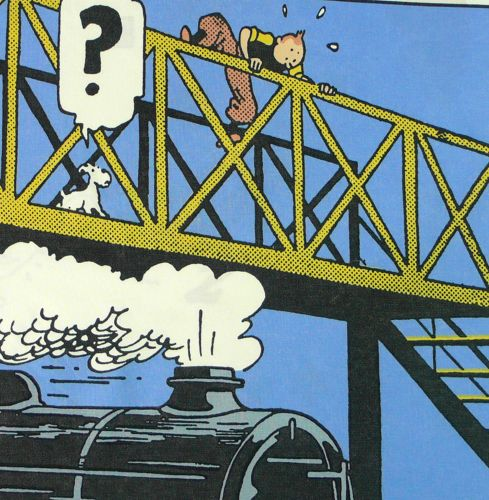 Tintin Cotton Panel - The Black Isle - Tintin on the Bridge