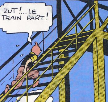 Tintin Cotton Panel - The Black Isle - Tintin on Stairs