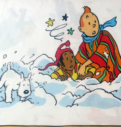 Tintin - Prisoners of the Sun Fabric  - Tintin & Zorrino