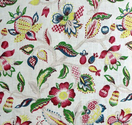 Vintage Jacobean Print Linen - 115cm wide