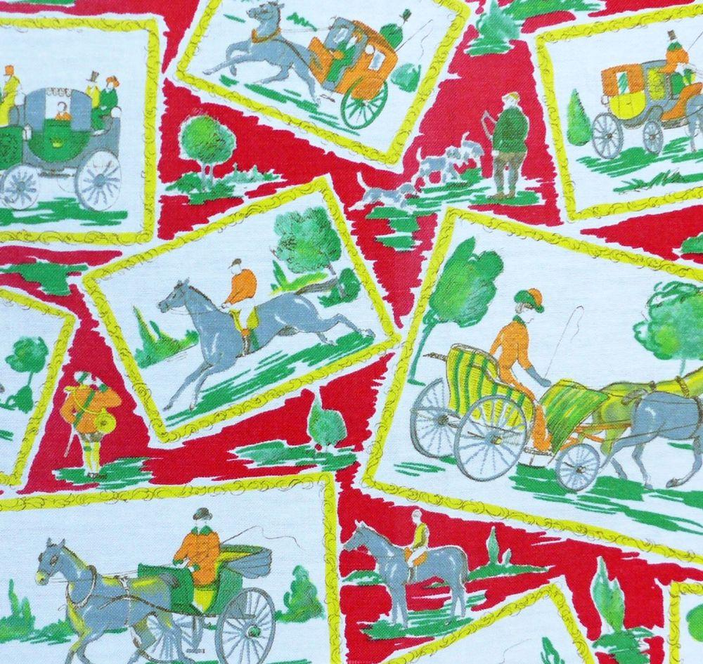 Vintage Horses Print Linen - 125cm wide