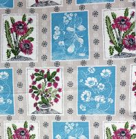 Textured Fifties Floral Cotton - 50cm x 55cm