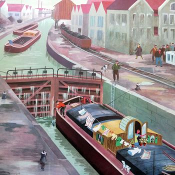 Vintage French School Print - Helen Poirie - The Canal