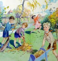 Vintage School Poster 1938 - Autumn Leaves