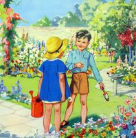 Vintage School Poster 1938 - Our Garden