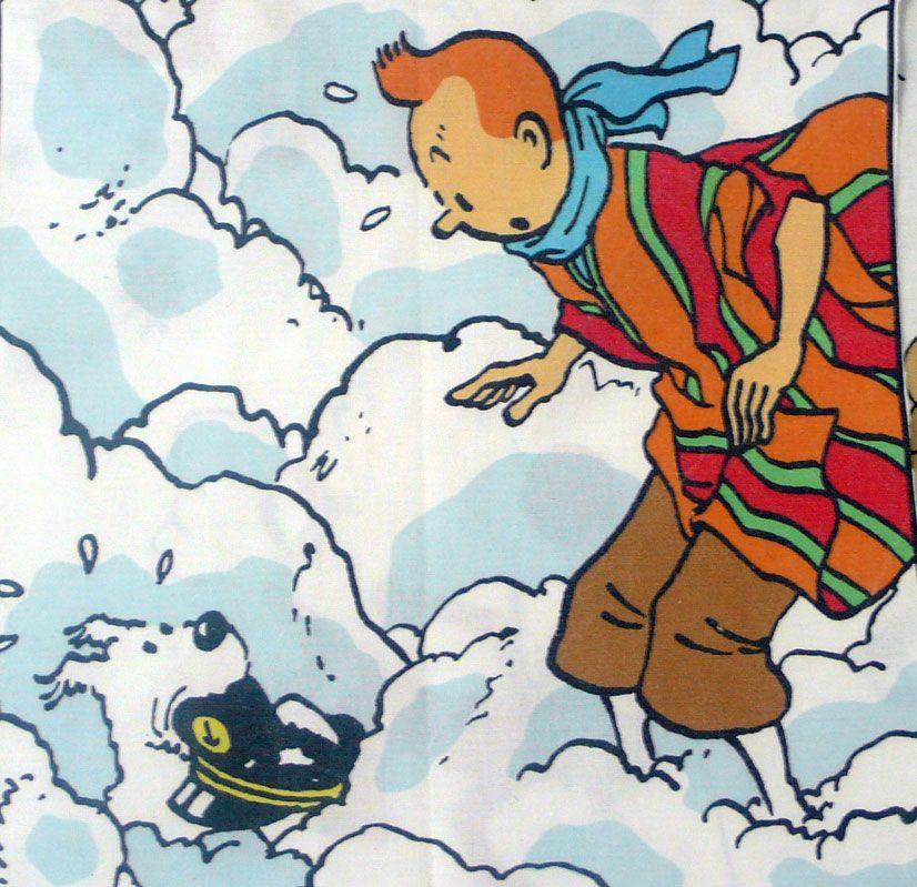 Tintin - Prisoners of the Sun Fabric - Tintin & Snowy